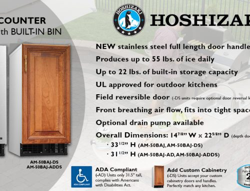 HOSHIZAKI Adds Stylish Full Length Door Handle to AM-50 Series Undercounter Icemakers