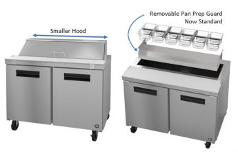 Hoshizaki Prep Table with Smaller Hood and Removable Pan Prep Guard - Now Standard